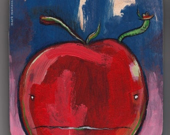 Apple and Worm Original Painting