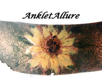 BOHO Anklet Anklets SUNFLOWER Anklet Ankle Bracelet Copper Anklet Cuff Painted Metal Anklet Anklet for Women