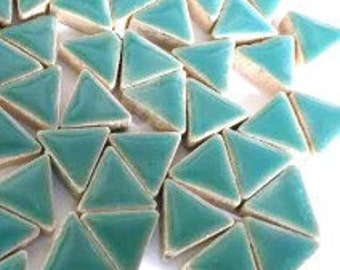 Triangle Ceramic Mosaic Tiles - Teal Green - 50g (1.75 oz)