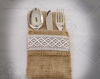 Wedding Table Setting, Burlap Flatware Holder,  Silverware holder, SET Of 25