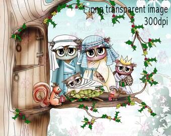 Twiggy & Toots uilen Nativity zwarte en witte digitale stempel