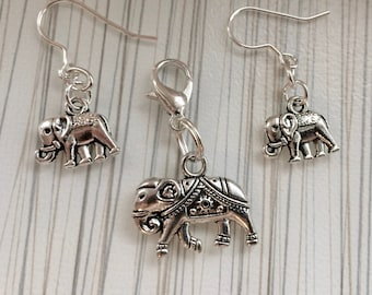 Elephant Drop Earrings, Elephant Earrings, Love Elephants, Sterling Silver Earwires, Jumbo, Elephant Gifts, Elephant Lovers, Et.515