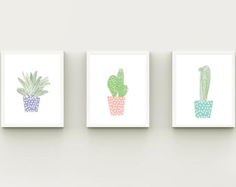 Nursery cactus set, Cactus set, set of 3,  nursery wall art , instant download nursery decor, pastel baby room, printable art, 8X10 print