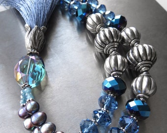 Blue Silk Tassel Necklace, Mala Inspired Necklace, Sky Blue Tassel, Antiqued Silver, Yoga Jewelry, Yoga Necklace, Yoga Meditation Jewelry