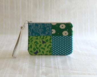 Zipper Clutch / Blue Patchwork Wristlet /Summer Clutch/ Cute Purse / Summer Handbag / Zipper Clutch/Casual Purse/Zipper Pouch/Gifts Under 15
