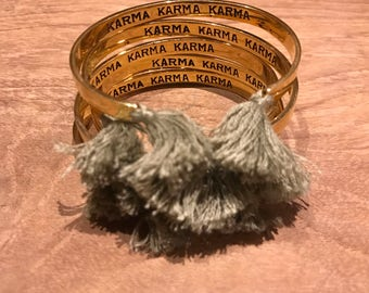KARMA KARMA KARMA Sanskrit Bangle with Tassels - Boho/ Engraved
