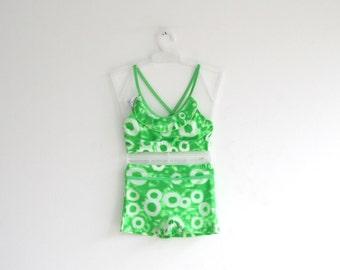 Vintage Girls Swimwear two piece bikini tye dye design/ green and white swimsuit