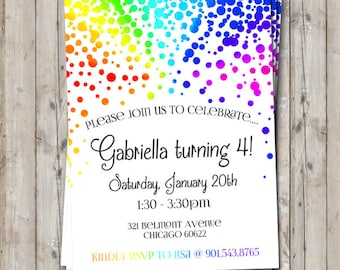 Rainbow Birthday Invitation Personalized For Your Party