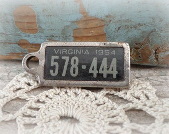vintage license plate charm fob 1954 virginia key chain fob key tag DAV disabled american veterans