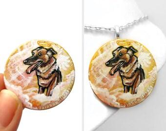 German Shepherd Art, Dog Necklace, Loss of Pet Portrait, Hand Painted Wood Pendant, Orange Jewelry, Guardian Angel, Memorial Gift for Her