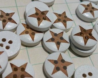 "Wood Star Buttons - Wooden Button Stars White Dark Wood Star Inset - 9/16"" Wide - 24 Buttons"