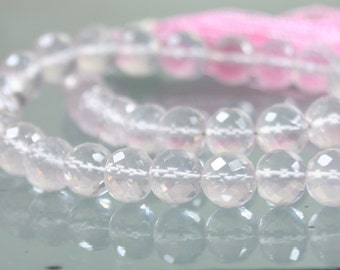 AA Rose Quartz Faceted Rounds 7mm x 8mm