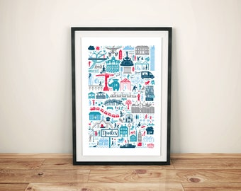 Poster illustration Nantes red/blue (A3/A4)