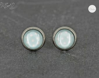 Ohrstecker Edelstahl * Cabochon Punkte mint weiß 8 mm * dots * stainless steel * stud earring