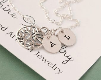 Personalized Family Tree Initials Necklace - Tree Of Life Necklace - Hand Stamped Initials Necklace - Custom Monogram Necklace - Tree -