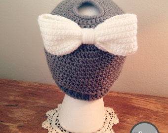 Messy Bun Hat with Bow, Crochet Beanie, High Ponytail Hat, Grey, White, Trendy, Classy, Warm, Gift, Valentines Day gift, The Dainty Hook