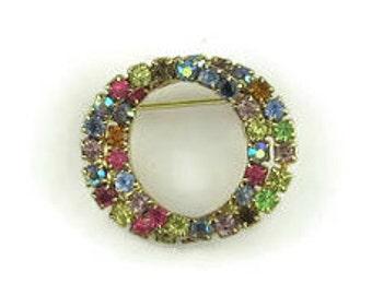 Vintage Multi Color Rhinestone Circle Pin