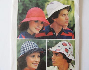 uncut / 2 Hat Sizes, Men & Women / Vintage 1970s Sewing Pattern Simplicity 6250 / Sewn Hat with Brim / Tennis Hat / Sun Hat / Beach Hat