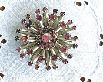 Stunning-Glittery-Pink and Silver tone Rhinestone Brooch-Circle-Petal-Flower-Snowflake-Starburst-Atomic-Mid Century