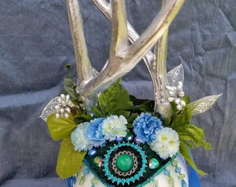 Twisted Antler Crown; Teal and Silver