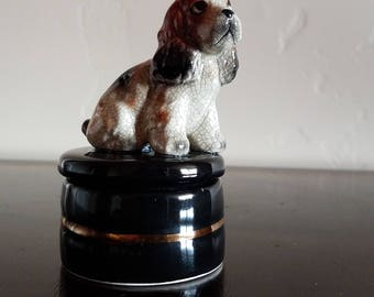 Porcelain Dog Trinket Box