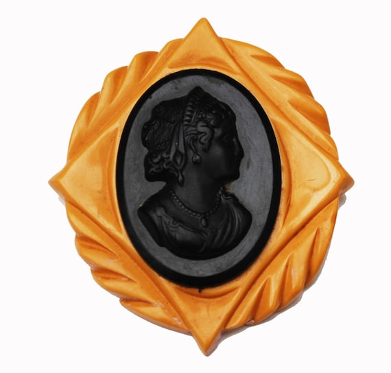 Large Bakelite Cameo brooch - black  butterscotch  Mustard Yellow - carved  celluloid womans profile  pin