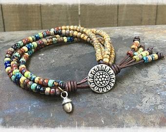 Sunflower Wrap Bracelet/ Beaded Wrap Bracelet/ Seed Bead Leather Wrap Bracelet/ Boho Wrap Bracelet/ Bohemian Bracelet/ Gift For Her.
