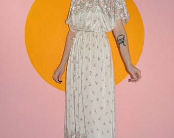 Vintage 70s Ivory White Accordian Pleats Grecian Floral Maxi Boho Bridal Wedding Summer Dress small