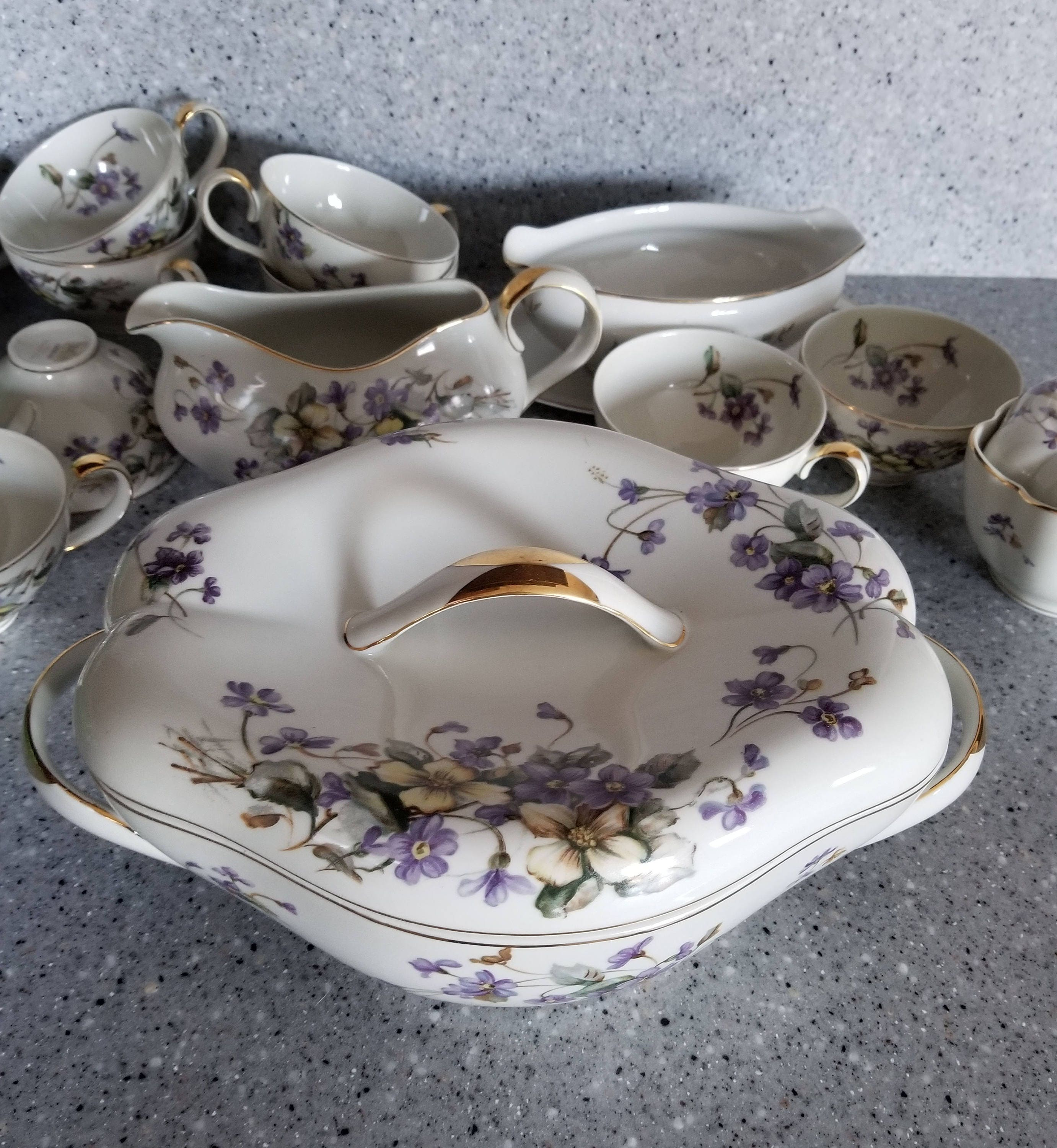 NORLEANS CHINA DISH/Vintage China Dinnerware/Purple Violets/Japan China Dishes : vintage china dinnerware - pezcame.com