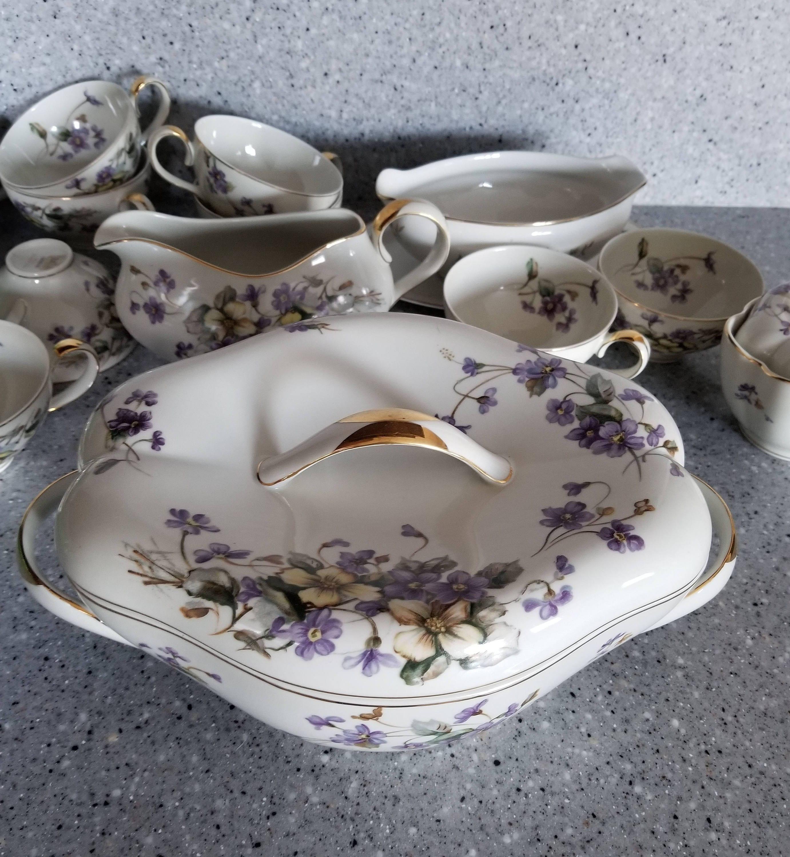 NORLEANS CHINA DISH/Vintage China Dinnerware/Purple Violets/Japan China Dishes & NORLEANS CHINA DISH/Vintage China Dinnerware/Purple Violets/Japan ...