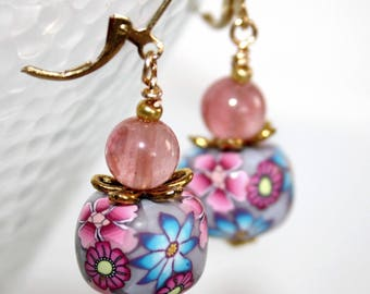 Earrings * blue and pink flowers *.