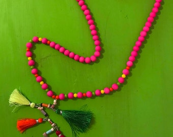 Hot Pink, Lime Green, Electric Orange, & Neon Yellow Multi-Tassel and Tooth Necklace