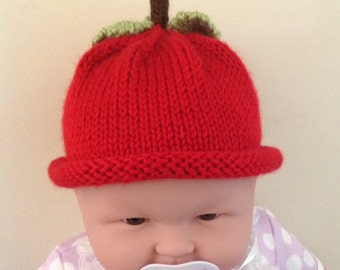 Baby Apple Knit Hat with Stem and Leaf Details