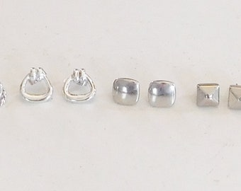 5 Pairs of Small Silver Stud Earrings Pierced Minimalist Knocker Round Square Domed Braided Circles Vintage