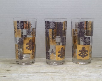 Fleur de Lis Set of Three Tumblers, Glasses, Highballs, 1960s Mid Century
