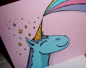 """The Unicorn """"Break-Up Card"""" Anti Love Card Not So Romantic  5x7 Greeting Card by Agorables Undead"""