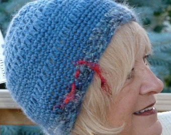 Cute blue winter skullcap, original handcrafted crochet hat, lightweight and comfortable blue winter hat, chemo hat, free shipping in USA