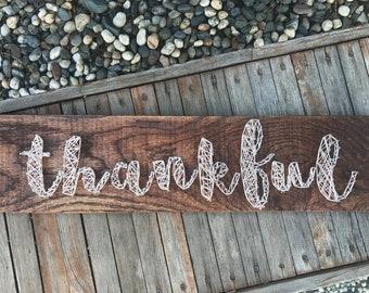 Thankful String and Nail Wood Art