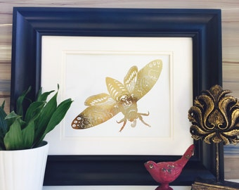 Death Head Hawkmoth Print, Gold Wall Art, Moth Bug Home Decor, Insect Museum For Office