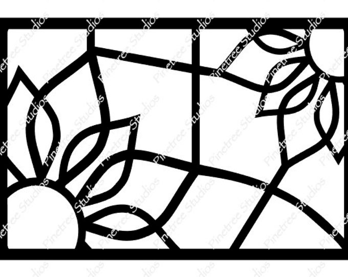 Stained Glass Sunflower SVG Digital Download / Cuttable / Clip Art / Stencil / Silhouette / Cricut / Printable / Color Book / Decal