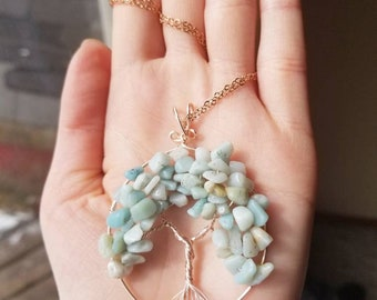 Amazonite and rose gold Tree of life