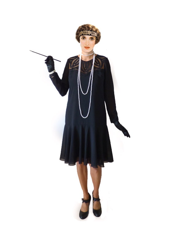 1920s Costumes: Flapper, Great Gatsby, Gangster Girl Art Deco Flapper Dress Roaring 20s Dress $98.00 AT vintagedancer.com