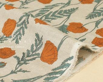 Japanese Fabric 100% linen Poppies - orange, green -  50cm