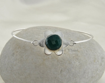 Green Onyx Bracelet-Gemstone Bracelet-Silver Bracelet-Green Onyx Faceted 12mm Round Sterling Silver Bangle Bracelet-Christmas Gift For Her