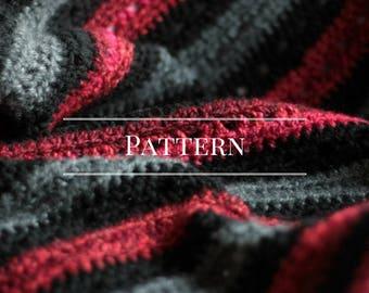 Crochet blanket PDF, red black grey, DIY instructions