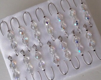 Beaded Ornament Hanger Hooks - Crystal Beads | Silver Wire - FREE SHIPPING *Free Gift - Limited time