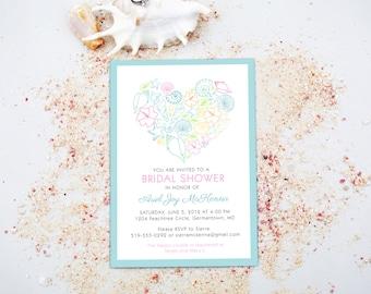 Beach Modern Invitation Design - Printable Announcement Invite for Birthday, Destination Wedding Engagement, Bridal or Baby Shower Printable