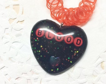 RTS Black and Red Blood necklace tattoo choker
