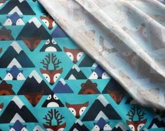 Jersey renards en montagne fond bleu - 50 cm