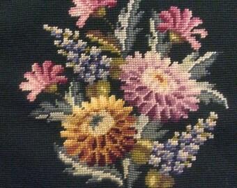 Vintage Needlepoint Stitched Bucilla Floral Canvas Dark Green Background